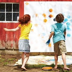 Monster Mural  Dip rubber spike balls in tempera paint, then toss them at a paper-covered wall to create monster-shaped splats. When the paint dries, draw on zany faces to make your mural come alive.