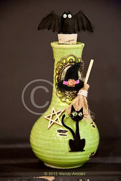 Green Halloween Potion Bottle Witchy Apothecary by artfulgypsy