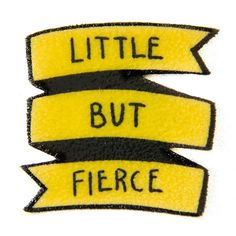 """Yellow Punk Rock Feminist Quote Banner Pin """"Little But Fierce"""" button... ($12) ❤ liked on Polyvore featuring jewelry, brooches, button brooch, punk rock jewelry, button jewelry, yellow jewelry and pin brooch"""