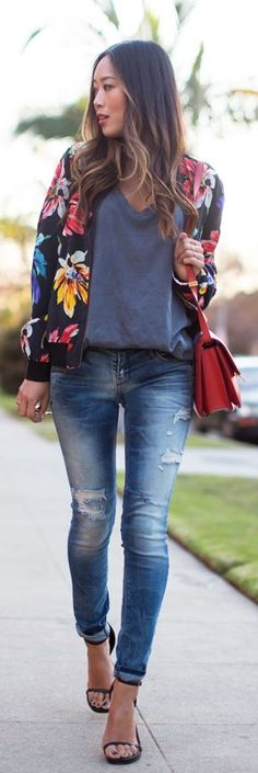 #Floral #Bomber by Song Of style