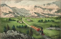 Currier and Ives - The railroad transverses the great American West.