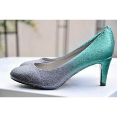 Light blue ombre low heels blue pumps something blue shoes high heel... ($73) ❤ liked on Polyvore featuring shoes, pumps, low heel pumps, bridal shoes flats, wedge pumps, blue wedding shoes and glitter ballet flats