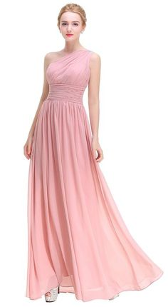 Esvor One Shoulder Prom Party Evening Gown Long Bridesmaids Dress Blush 16