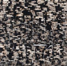 Hanaa Malallah - Illustrated Ruins (crop) 2013 Burnt canvas, ash and fluorescent light on canvas 150 x 150 cm