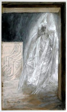 James Tissot, Angel seated on theStone of the Tomb, watercolor, 1886. In this incredible water color, the stone has been rolled away and the angel sits agains it; four other angels sit inside the tomb, waiting on Jesus.