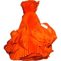 Satinee's collection - Dior ❤ liked on Polyvore featuring dresses, gowns, orange, dior, orange gown, orange dress and orange evening dress