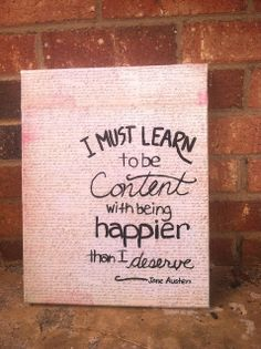 Canvas craft. Jane Austen quote  {I posted about it on my blog -- A Cheerful Heart}