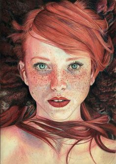 Colour pencil drawing of ' The Red Queen' by Maja Topcagic