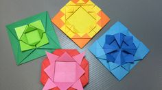 How to make an origami medallion and lots of variations. ---------- Origami: Medallion Designed By: Traditional Origami Style: Pure sheet of paper - no sc. Origami Wall Art, Origami Quilt, Origami Envelope, Origami And Kirigami, Origami Ball, Paper Photo Frame Diy, Gato Origami, Origami Shapes, Paper Art