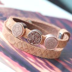 Diese DQ Leder Armbänder aus Cuoio haben ein herrliches Reptile Muster!