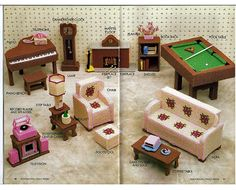 Fashion Doll Family Room Plastic Canvas Pattern for Barbie - Annie Attic  87D26.
