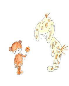 Kids Wall Art, Nusery Decor, Print, Baby Bear and Giraffe, White Background - 8x10. $20.00, via Etsy.
