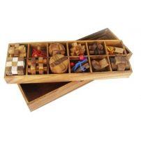 Łamigłówki drewniane – zestaw 12 mini-elementów  #łamigłówka