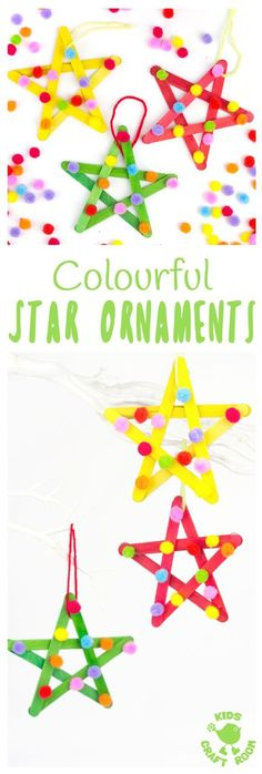 STAR ORNAMENTS - This colourful pom pom popsicle stick craft will look amazing hanging on your Christmas tree or as a bright and cheery star craft for a bedroom or nursery all year round. An easy and pretty Christmas craft for kids. #stars #starcraft #po