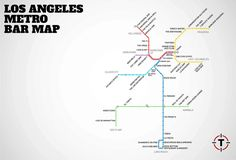 LA's first-ever Metro Rail Bar Map - It's a map that breaks down the best bar within a 10-minute walk of every Metro stop (that actually has bars near it).