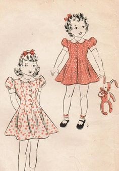 1940s Hollywood  Vintage Sewing Pattern Child's One-Piece Dress and Panties