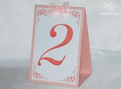 Elegant table numbers with bow Blush by WeddingUkraine on Etsy