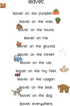 The Very Busy Kindergarten: October Poems for Poetry Box. Have this as the poem of the week and have a corresponding poem in a center for additional activities Fall Preschool, Preschool Songs, Kids Songs, Preschool Behavior, Prek Literacy, Literacy Skills, Music Activities, Group Activities, Preschool Classroom