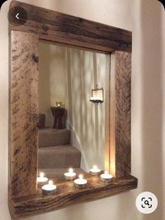 Reclaimed Wood Mirror, Wood Framed Mirror, Mirror With Shelf, Diy Mirror, Rustic Wood, Pallet Mirror Frame, Mirror Glass, Salvaged Wood, Mirrors With Wooden Frames