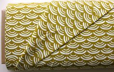 Organic Smile and Wave in Reed  CANVAS in Grey by SewFineFabric, $13.50
