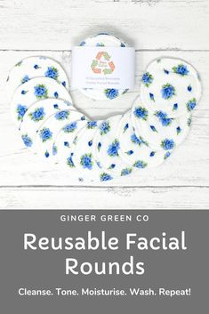 Reusable cotton facial rounds. Use the super soft cotton flannel side to cleanse and tone, and the cotton towelling side for gentle exfoliation. Then throw in the washing machine and use again and again! Gentle on you and the planet. Available in a range of designs with optional wash bag. Reusable Facial Rounds / Cotton Pads / Make Up Wipes / Zero Waste / Eco Friendly Cotton Pads, Cotton Towels, Make Up Remover, Eye Makeup Remover, Fabric Softener, Wash Your Face, Wash Bags, Zero Waste, Biodegradable Products