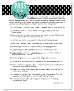 Pass The Prize Game-Pass the prize game, baby shower game, baby shower ideas, printable games, print from home