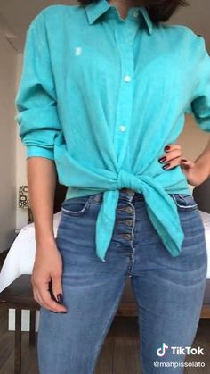 Mode Outfits, Fall Outfits, Summer Outfits, Neat Casual Outfits, Long Shirt Outfits, Diy Fashion Hacks, Fashion Tips, Clothing Hacks, Refashion