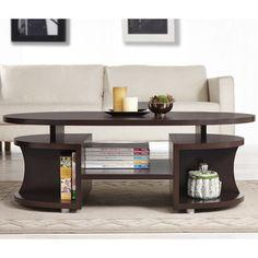 Modern Elliptical Multi-Shelf Walnut Coffee Table | Overstock.com Shopping - The Best Deals on Coffee, Sofa & End Tables $152.09