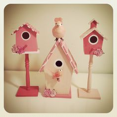decorations - wooden birdhouses painted with added embellishments