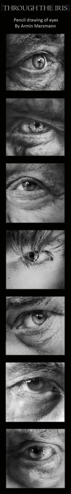 Pencil b+w drawing of hyperreal eyes by Armin Mersmann