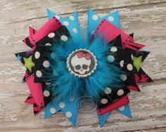 Monster High Skull Bottle Cap Hair Bow by SkyLynnClips on Etsy, $10.00