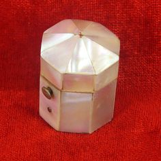 Mother of Pearl Shell Thimble Box France c1860 With Sterling Silver Thimble