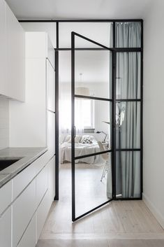 20 Glass Door Design Inspiration For Your Dream House 1 - homegrowmart Small Apartment Bedrooms, Small Apartments, White Apartment, Modern Small Bathrooms, Small Bedroom Designs, Steel Doors, Steel Windows, Internal Doors, Pivot Doors