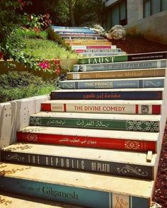 Home decor ideas for all the book lovers yes please! The incredible staircase of knowledge is located at the University of Balamland Lebanon. Have you ready any of these books? This amazing photo was taken by Book Stairs, Epic Of Gilgamesh, Stairway To Heaven, Book Nooks, Ubud, Public Art, Stairways, Urban Art, Book Lovers