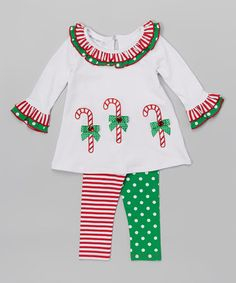 Love this White Candy Cane A-Line Top & Leggings - Infant, Toddler & Girls on #zulily! #zulilyfinds
