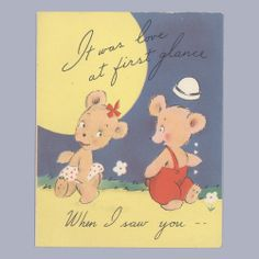 Vintage Valentine Card BEARS Love at First Glance VALENTINE'S DAY Carrington #Carrington
