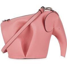 Loewe Elephant pink leather cross-body bag ($1,085) ❤ liked on Polyvore featuring bags, handbags, shoulder bags, red leather shoulder bag, pink purse, cross-body handbag, leather cross body purse and pink leather handbags