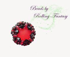 Kettenanhänger, Anhänger in Rot mit Swarovskis von Beads by Rolling-Fantasy auf DaWanda.com