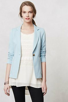 would add a statement necklace to this. and for some reason the color of that button really bugs me. #anthropologie