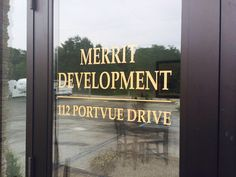 New window lettering for Merrit Development. Make the most of your real estate with window graphics and lettering from Mr. Sign 412-264-4555