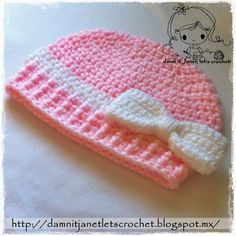 Free crochet pattern for the dania beanie by Damn it Janet, Let's Crochet! The beanie pattern is available in several baby sizes as well as a toddler size.