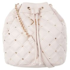 Kardashian Kollection KK Quilted Stud Duffel (125 BRL) ❤ liked on Polyvore featuring bags, purses, backpacks, beige, studded duffle bag, quilted bucket bag, drawstring bucket bags, studded bucket bag and drawstring backpack bag