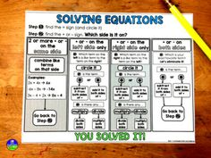 Have students who struggle with solving equations with variables on one side or both sides? This solving equations graphic organizer can help catch those students up to speed and get them independently solving equations. Solving Linear Equations, Systems Of Equations, Equation Solving, Maths Algebra, Math Math, Math Class, Math Multiplication, Teaching Math, Teaching Ideas