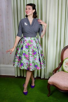 Gertie's New Blog for Better Sewing: B6285 Wrap Top and Skirt: The Grey Floral Version!