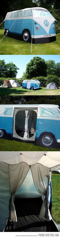 VW Camper Van Tent. I might actually go camping if I had one of these, at least once just for the novelty.