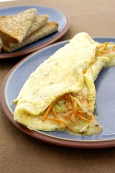 Black Truffle Cheese Omelet With Julienne of Carrots, Celery and Leeks