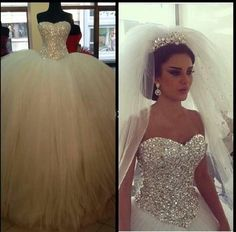 Online Shopping Sparkly Sequined Crystal Ball Gowns Wedding Dresses 2015 Luxurious Princess Puffy TulleBridal Gowns Floor Length Corset Vestidos de Novia 160.88 | m.dhgate.com