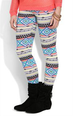 Deb Shops Neon Stripe Tribal Print Leggings 1043