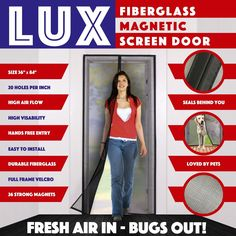Magnetic Screen Door New 2017 Design Full Frame Velcro & Fiberglass Mesh Not Nylon This Instant Retractable Bug Screen Opens and Closes like Magic it's the Last Screen You'll Need Magnetic Screen Door, Retractable Screen Door, Mesh Screen, Screen Doors, 2017 Design, Design Design, Splash Screen, Patent Pending