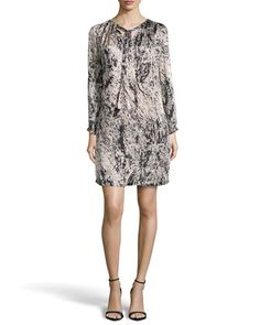 Long-Sleeve Pleat-Neck Printed Charmeuse Dress, Charcoal by Halston Heritage at Neiman Marcus.
